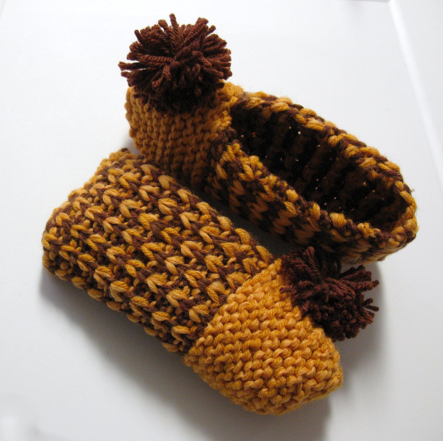 Pantoufles c tel es au tricot 3 petites mailles - 3 petites mailles ...