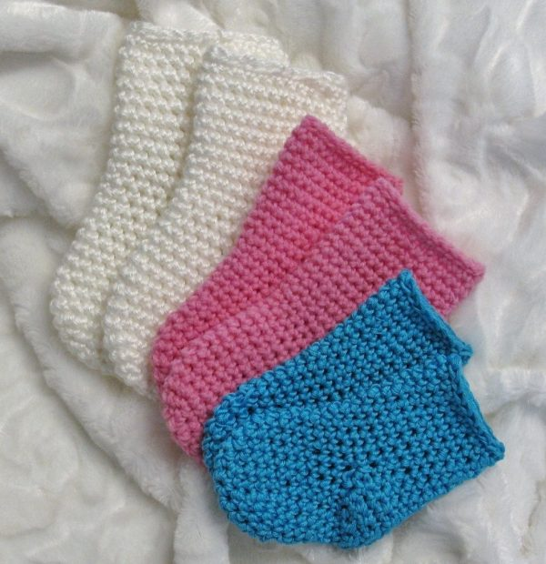 Chaussettes au crochet pour bébés 0-12 mois